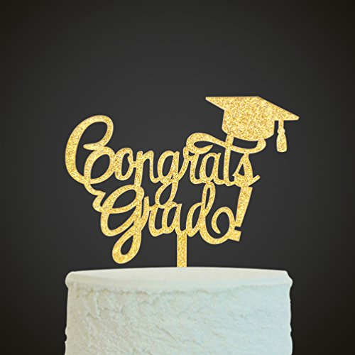 INNORU Congrats Grad Cake Topper - Class of 2018 Graduate Party Decorations Supplies - High School Graduation, College Graduate Cake Topper (Glitter Gold) by INNORU (Image #1)