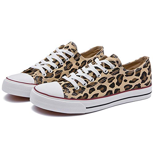 ZGR Women's Canvas Low Top Sneaker Lace-up Classic Casual Shoes Black and White (US8, Leopard)
