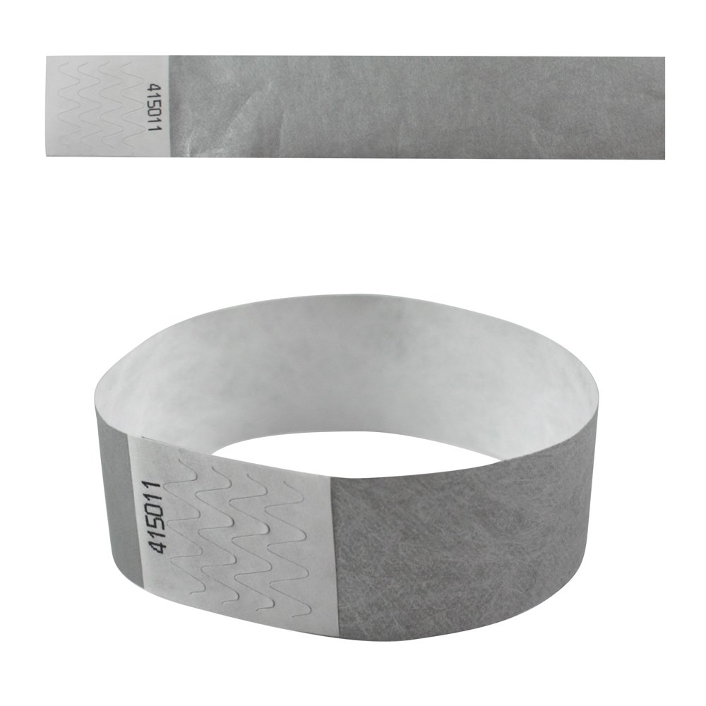 eBuyGB 13281 Plain Security Tyvek Paper Event Wrist Band for Festivals and Parties - Grey (Pack of 500)