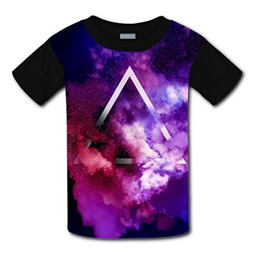 Space Triangle T-shirts Printed Crew Neck Tees for Boys Girls