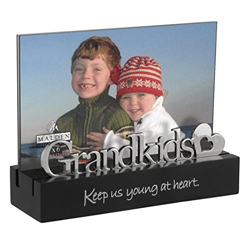 (Malden International Designs Grandkids Desktop Expression with Silver Word Attachment Picture Frame, 4x6, Black )