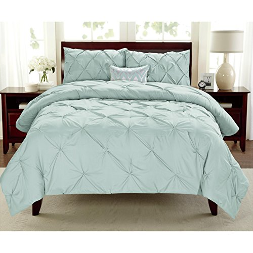3 Pieces Girls Misty Blue Full Queen Abstract Pintuck Pinched Pleat Patterned Comforter Set, Blue Shabby Chic Tuffted Adult Bedding Master Bedroom French Country Vibrant Colorful Elegant, Polyester by Unknown