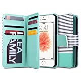 ULAK Flip Wallet Case for iPhone SE/5S/5, Fashion PU Leather Magnet Wallet Flip Case Cover with Built-in Credit Card/ID Card Slots for 5s 5G 5 SE (Minimal Stripe Mint)