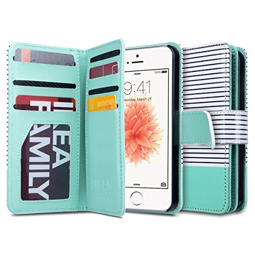 (ULAK Flip Wallet Case for iPhone SE/5S/5, Fashion PU Leather Magnet Wallet Flip Case Cover with Built-in Credit Card/ID Card Slots for 5s 5G 5 SE (Minimal Stripe Mint))