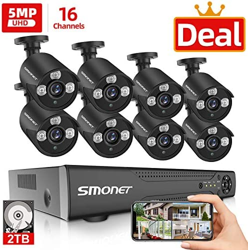 16 Channel 5MP 5MP Security Camera Systems, SMONET 5-in-1 16 Channel DVR Video Surveillance System 2TB HDD , 8pcs Wired 5MP Outdoor Waterproof Home Security Cameras, Night Vision, Remote View