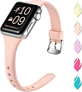 Henva Slim Band Compatible with Apple Watch SE 40mm 38mm, Replacement Accessories Soft Band Wristbands with Stainless Steel Buckle for Apple/iWatch Series 6/5/4/3/2/1, Pink Sand, S/M