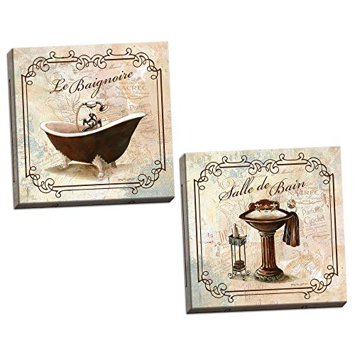 Gango Home Decor 2 French Bathtub and Pedestal Sink Bathroom Art Set, Two 12x12in Hand-Stretched Canvases, Ready to Hang!