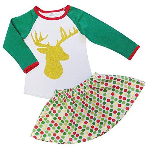 So Sydney Girls or Toddler Christmas Rustic Reindeer Deer Antlers 2 Pc Skirt Set (XL (6))