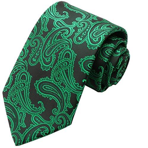 Green Necktie Tie (KissTies Green Black Tie Paisley Irish Ties Mens Necktie + Gift Box)
