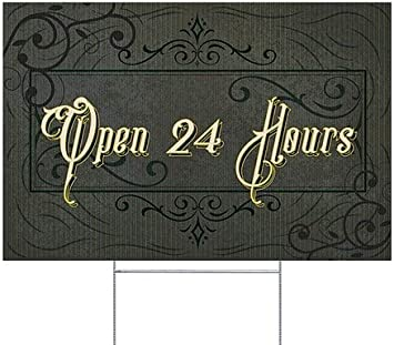 Open 24 Hours 27x18 5-Pack Victorian Frame Double-Sided Weather-Resistant Yard Sign CGSignLab