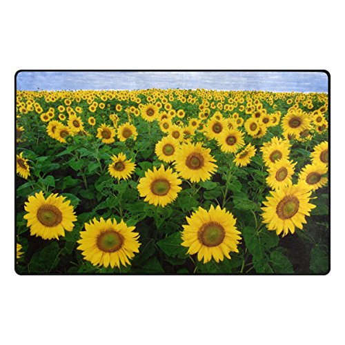 TSWEETHOME Doormat Area Rugs Outdoor Inside Mats Personalized Welcome Mats with Sunflowers for Chair Mat and Decorative Floor Mat for Office and Home (31 x 20 in & 60 x 39 in) -