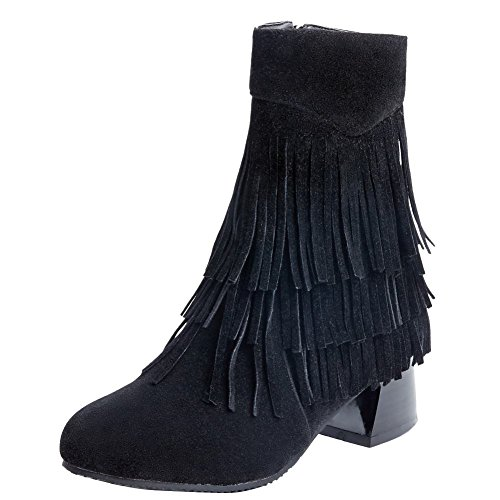 Carolbar Women's Stylish Tassels Mid Heel Zip Short Boots Black