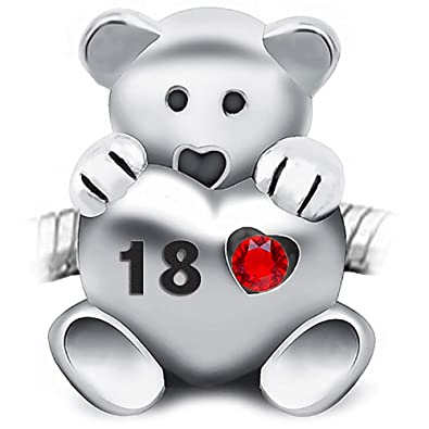 30e0dcd77 Sparkly-Jewels 18th Birthday Teddy Bear Charm Bead Holding a red Heart  inscribed 18-925 Sterling Silver - fits Pandora, Biagi & Troll Bracelets:  ...