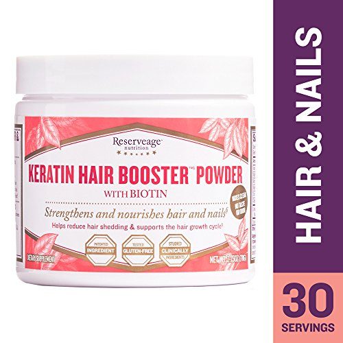 Reserveage - Keratin Hair Booster Powder, Supports Growth of Strong, Shiny, Youthful Hair and Nails with Biotin and Pantothenic Acid, Gluten Free, 30 Servings (2.65 Oz)