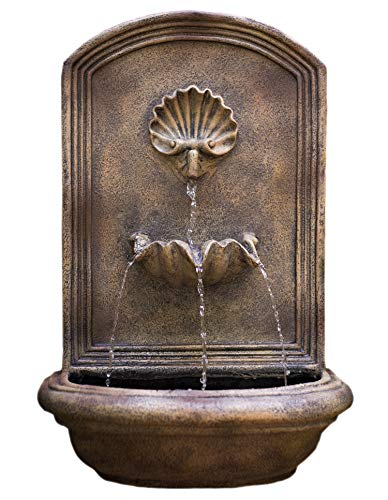 The Napoli Outdoor Wall Fountain - Florentine Stone Finish - Water Feature for Garden, Patio and Landscape Enhancement