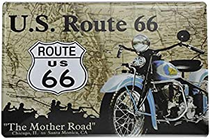 Westeng Publicidad Metálica de Pared Indian Moto y Route 66 Decoración Cartel de Chapa Decorativa Vintage Metal Cartel de la Pared Cerveza Decoración ...