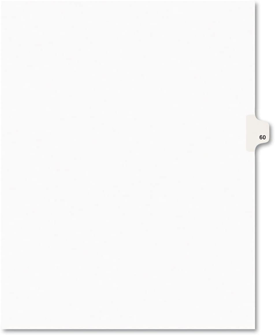 Letter White Avery 01060 Avery-Style Legal Exhibit Side Tab Divider Title: 60 25//Pack