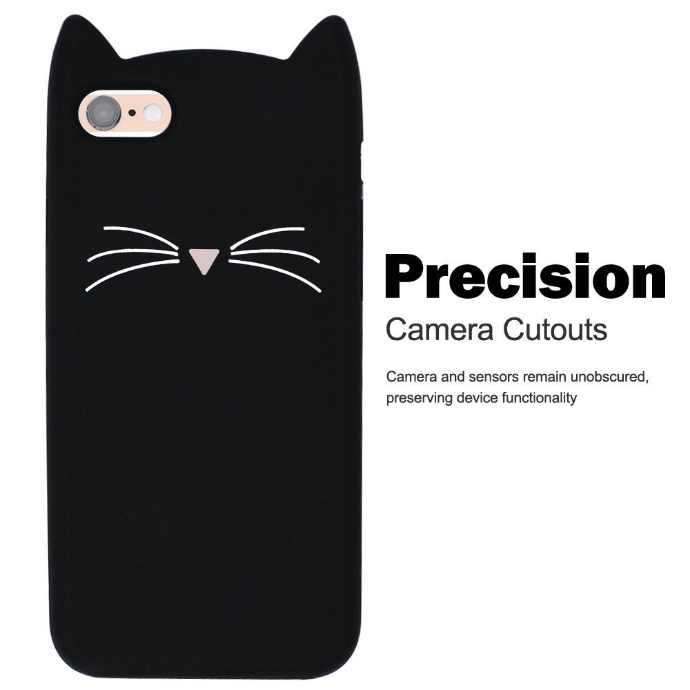 For iPhone 4S Protective Silicone Case, SevenPanda Cover for iPhone 4 TPU Silicone Black Protective Case Scratch Protective Case 3D Premium Lovely Cute Cartoon Animal Shell - Pink IP4-HuXuMao-Fen