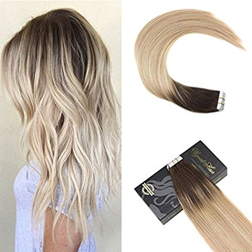 Ugeat 22inch PU Tape Hair Extensions Bayalage Color #1B Fading to Color #16 Mixed with Color #22 Glue in Hair Extensions Human Hair 20pcs 50Gram Review