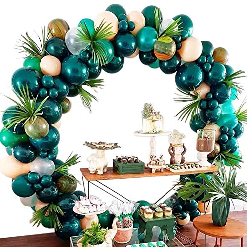 Forest Theme Party Decoration 148Pcs10In Green and Transparent Balloon Garland Arch Kit,Inflator Pump,Birthday,Green Wedding,Boy's Baby Shower,Corporate Events, Bachelor Party,Photo Background -