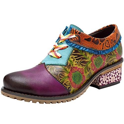 Mordenmiss Women's Bohemian Oxford Shoes Wingtip Heels Ankle Booties Brogue Shoes Purple US 9