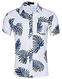 Cyparissus Men's Casual Button Down Shirt Cotton Hawaiian Shirt for Beach (XL, White Blue Palm Leaves)