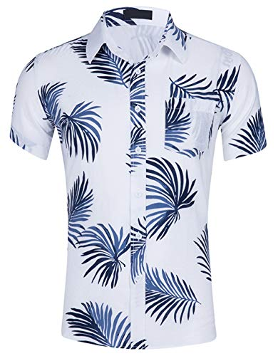Cyparissus Men's Casual Button Down Shirt Cotton Hawaiian Shirt for Beach (XL, White Blue Palm Leaves) by Cyparissus