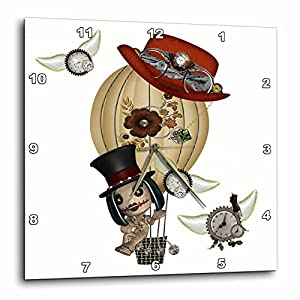 3dRose DPP_102668_3 Gothic Laveau Hot Air Balloon Steampunk Art-Wall Clock, 15 by 15-Inch