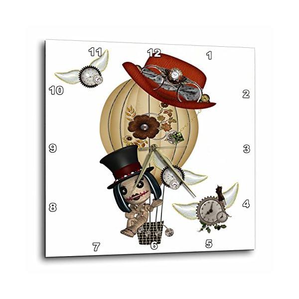 3dRose dpp_102668_3 Gothic Laveau Hot Air Balloon Steampunk Art-Wall Clock, 15 by 15-Inch 3