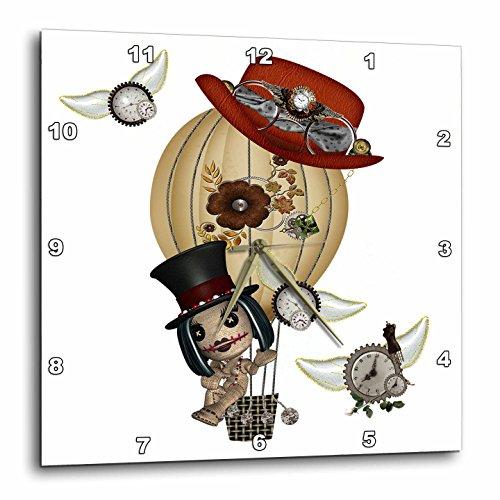 3dRose dpp_102668_3 Gothic Laveau Hot Air Balloon Steampunk Art-Wall Clock, 15 by 15-Inch