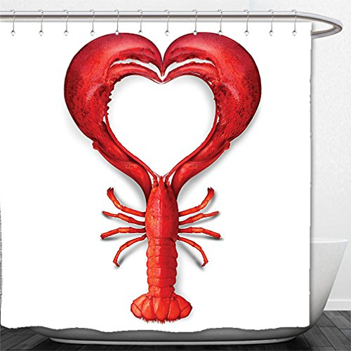 Interestlee Shower Curtain Sea Animals Decor A Boiled Lobster Shaped as A Heart Symbol Fish Dinner Seafood Love Restaurant Menu Art Red (Menu Golden Bee)