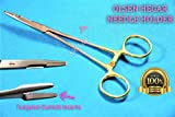 Needle Holder with Tungsten Carbide Inserts Olsen HEGAR 7'' HIGH Grade Gold Rings Serrated (CYNAMED)