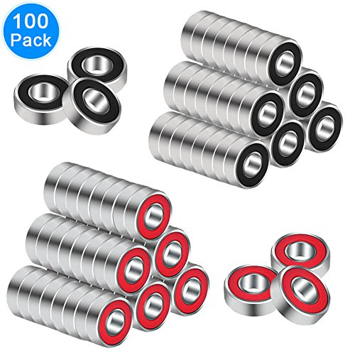 EAONE 100 Pieces 608 Hybrid Ball Bearings for Tri-spinner Fidget Spinner Toy, Double Shielded