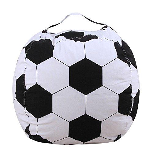 (Chranto Lucky 7 ! ! Kids Stuffed Animal Plush Football Toy Storage Bean Bag Soft Pouch Stripe Fabric)