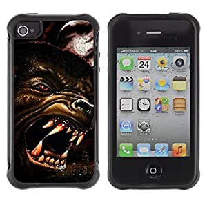 LASTONE PHONE CASE / Suave Silicona Caso Carcasa de Caucho Funda para Apple Iphone 4 / 4S / Wolf Angry Dog Red Eyes Art Face Teeth Muzzle