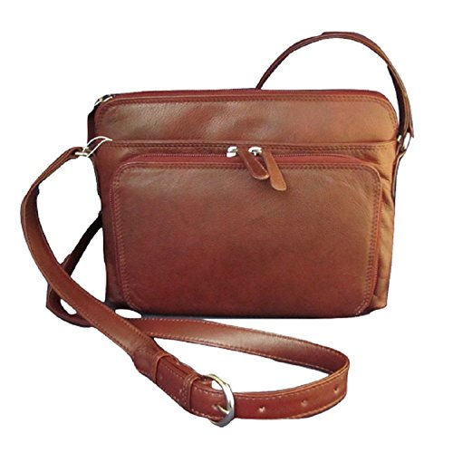 ili New York 6333 Leather Shoulder Handbag with Side Organizer (Redwood)