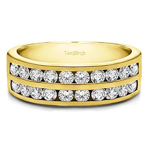- Yellow Plated Silver CZ 1 CT Double Row Channel Set Anniversary Band(Size 3 To 15 1/4 Size Interval)