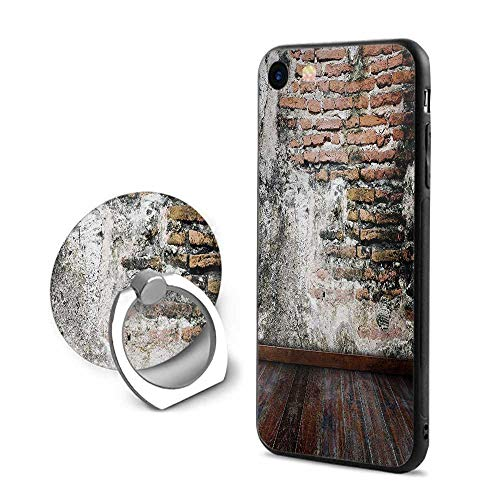 Rustic iPhone 7/iPhone 8 Cases,Worn Looking Wall Photograph with Wooden Floors Ancient Building Structure Cinnamon Black White,Mobile Phone Shell Ring Bracket