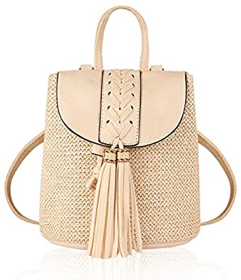 Mini Woven Backpack with Tassel PU Leather Shoulder Bag Kids Schoolbag Beach Bag Beige Size: Small