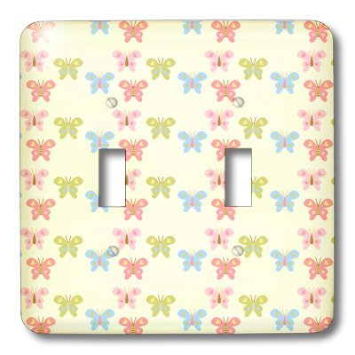 3dRose lsp/_63619/_2 Colorful Pastel Butterflies with Hearts Double Toggle Switch