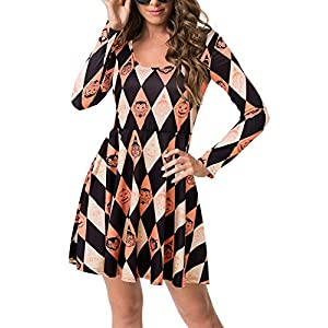 BIUBIU Women's Halloween Customes Long Sleeve Casual Printed Flared Party Dress