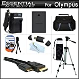 Essential Accessories Kit For Olympus E-PL5 Interchangeable Lens Digital Camera Includes Extended Replacement (1400 maH) BLS-5 Battery + AC/DC Travel Charger + Mini HDMI Cable + USB 2.0 Card Reader + Case + 50 Tripod w/Case + Screen Protectors + More