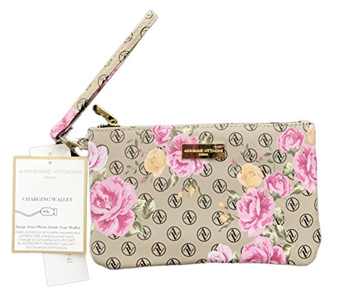 Adrienne Vittadini Charging Wallet with Detachable Strap Pink Av Floral Logo