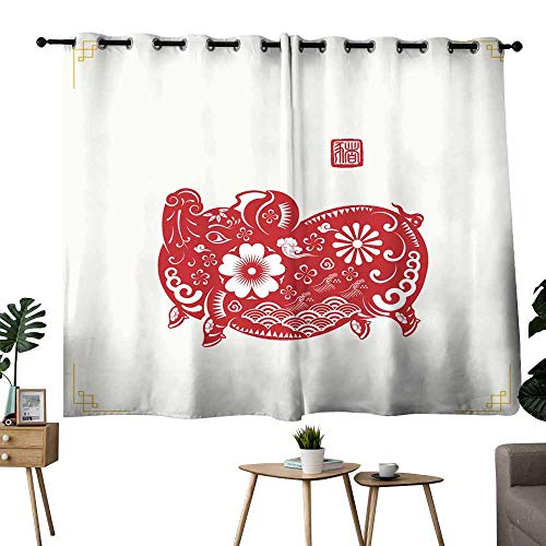 Kids Room Curtains Happy Chinese New Year year of the pig paper cut style Chinese characters mean pig Zodiac sign for greetings card flyers invitation posters brochure banners calendar Set of Two Pan (Zodiac Pebble)