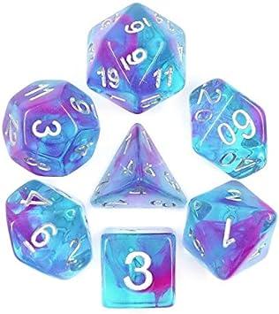 Juego de Dados de Alta definición de poliedros D&D para Mazmorras y Dragones RPG Juegos de rol MTG Pathfinder Mesa Top Games 7 Dados Set de Cinta para Acuario: Amazon.es: Juguetes y