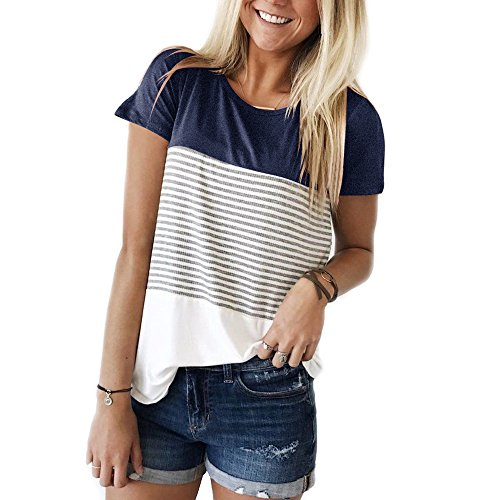 YunJey short sleeve round neck triple color block stripe T-shirt casual blouse,Navy,Small