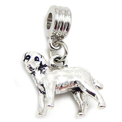 GemStorm Silver Plated Dangling 3D Dog For European Snake Chain Bracelets