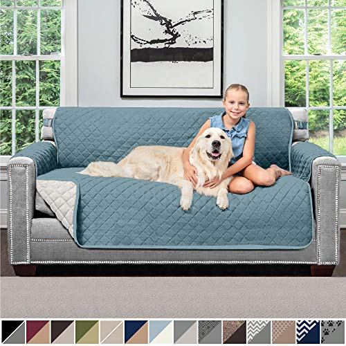 """SOFA SHIELD Original Patent Pending Reversible Small Sofa Slipcover, Dogs, 2"""" Strap/Hook, Seat Width Up to 62"""" Washable Furniture Protector, Couch Slip Cover for Pets, Kids (Small Sofa: Seafoam/Cream)"""