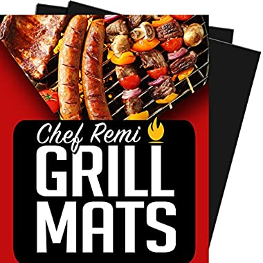 Chef Remi BBQ Grill Mat – Lifetime Replacement Warranty - Set Of 2 Heavy Duty, Non-Stick Grilling Mats – 16 x 13 Inch - Use on Gas, Charcoal, Electric Barbeque, Oven or Smoker – Ideal Gift For Dad