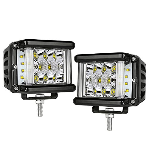 Side Shooter LED Light Bar, AKD Part 2pcs 4 inch Triple Row LED Pods 160W Spot Flood Combo Beam Philips LED Work Lights Driving Lights Super Bright Off Road Lights for Bumper Truck, 2 Years Warranty